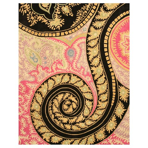 Hand-tufted Wool Black Contemporary Abstract Paisley Rug - 4' x 6'