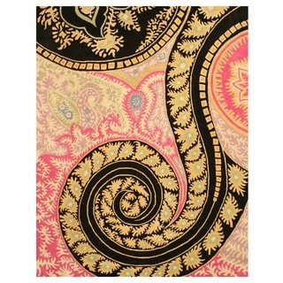 EORC Hand-tufted Wool Black Paisley Rug (8'9 x 11'9)
