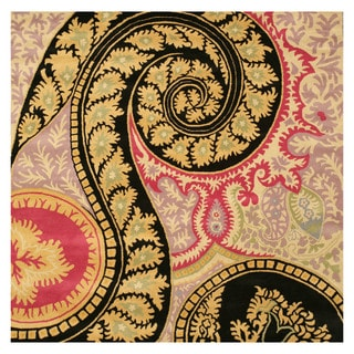 """Hand-tufted Wool Black Contemporary Abstract Paisley Rug (7'9 Square) - 7'9"""" Square"""