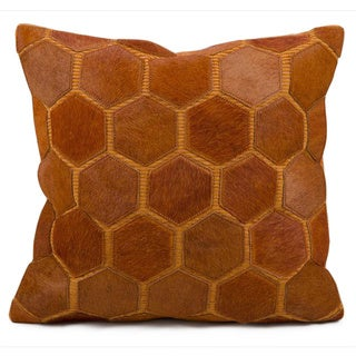 Mina Victory Natural Leather and Hide Hexagon Orange Throw Pillow (20-inch x 20-inch) by Nourison