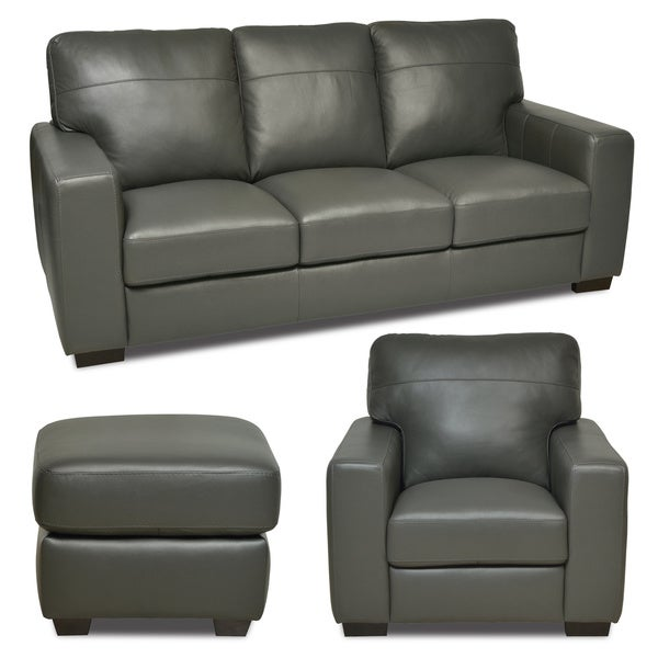 Italian Leather Gray Sofa Chair Ottoman Set
