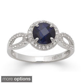 Gioelli Sterling Silver Round-cut Gemstone Cr. White Sapphire Accent Ring