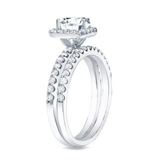 Auriya 14k Gold 1 1/4ct TDW Certified Princess Diamond Halo Bridal Ring Set (H-I, SI1-SI2)