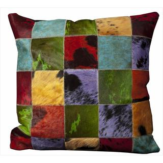 Mina Victory Natural Leather and Hide Squares Multicolor Throw Pillow (20-inch x 20-inch) by Nourison