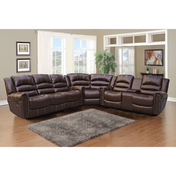 Gilbert brown bonded leather 3 piece sectional sofa set for 3 piece brown leather sectional sofa