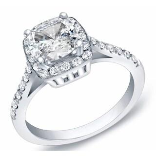 Auriya 14k Gold 1 3/4ct TDW Certified Cushion Cut Diamond Engagement Ring