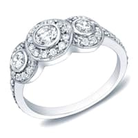 Auriya 14k White Gold 1ct TDW Vintage 3-Stone Bezel-Set Diamond Halo Engagement Ring