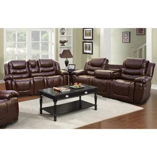 Mesa Brown Bonded Leather Sofa and Rocker Loveseat Set