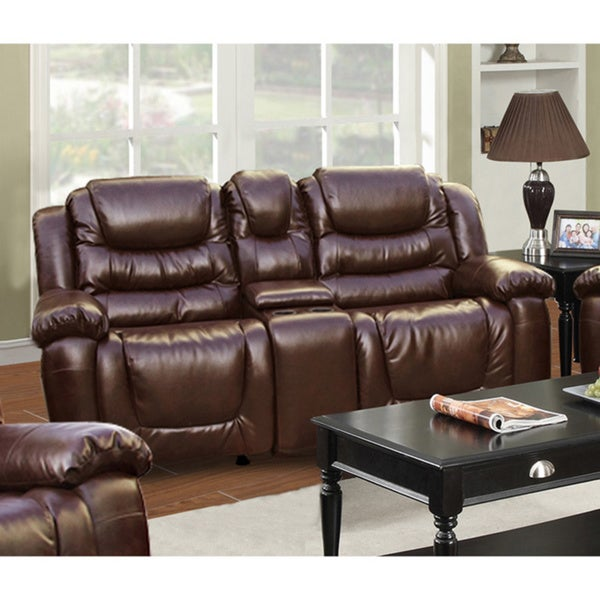 Shop Mesa Brown Bonded Leather Rocking Recliner Loveseat