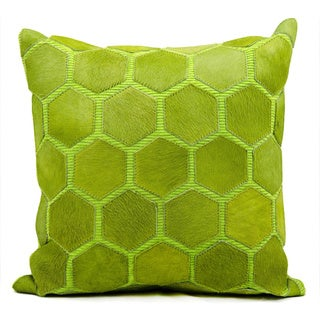 Mina Victory Natural Leather and Hide Hexagon Green Throw Pillow (20-inch x 20-inch) by Nourison