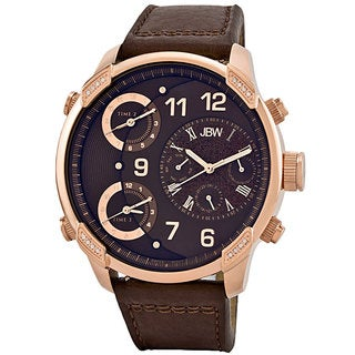 JBW Men's 'G4' Brown Leather Strap Gemstone Watch