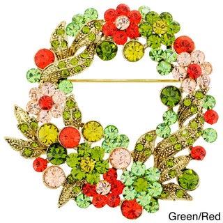 Multicolor Crystal Flower Wreath Pin Brooch