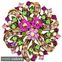 Fuchsia Pink Flower Crystal Wedding Pin Brooch