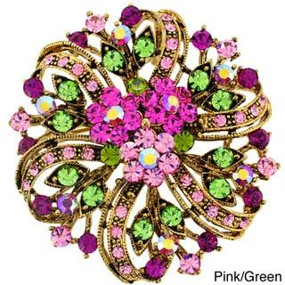 Fuchsia Pink Flower Crystal Wedding Pin Brooch