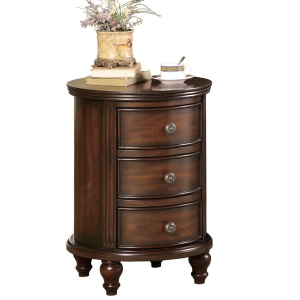 Dark walnut round accent cabinet 16107334 overstock com shopping