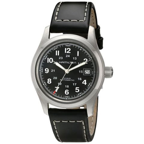 Hamilton Men's 'Khaki King' Black Dial Leather Strap Watch
