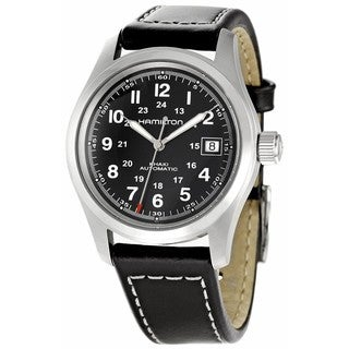 Hamilton Men's 'Khaki King' Black Dial Leather Strap Watch