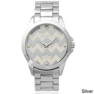 Geneva Platinum Women's Chevron Dial Metal Link Watch