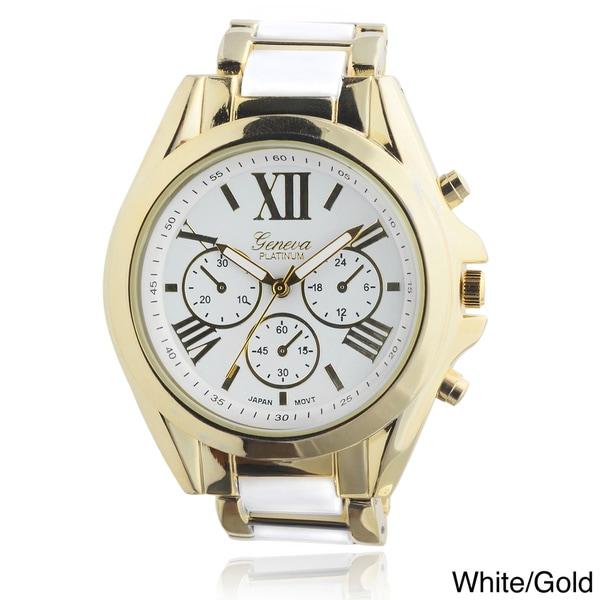Geneva Platinum Women's Roman Numeral Metal Link Watch