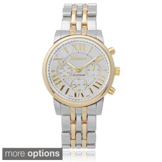 Geneva Platinum Women's Roman Numeral Metal Link Watch