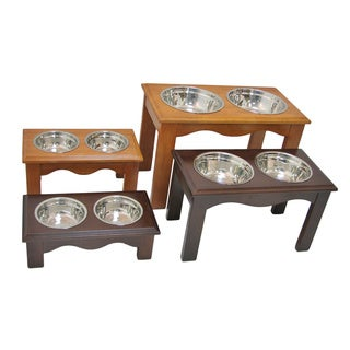 Crown Pet Wood/Stainless Steel Eco-friendly Pet Double-bowl Feeder