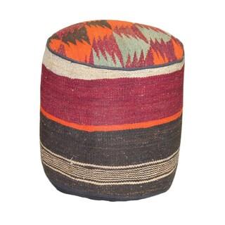 Handmade Kilim Decorative Stripe Tribal Pouf Ottoman