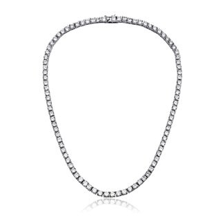 Collette Z Sterling Silver with Rhodium Plated Clear Round Cubic Zirconia 3MM Tennis Necklace