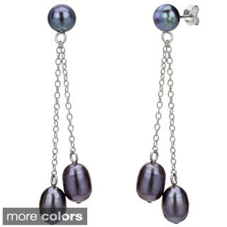 DaVonna Sterling Silver Freshwater Pearl Double-chain Earrings (6-7 mm)
