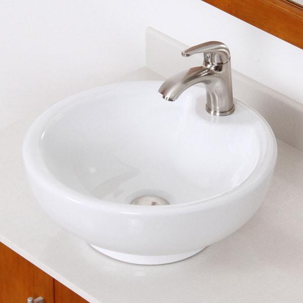 Shop Elite Round White Ceramic Bathroom Sink With Brushed Nickel
