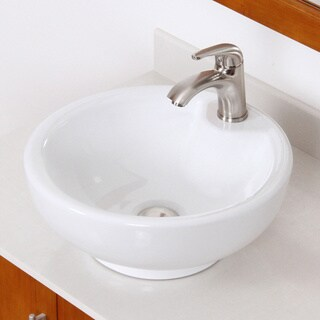 Elite Round White Ceramic Bathroom Sink with Brushed Nickel Faucet