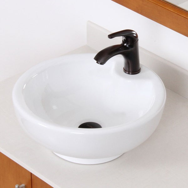 Shop elite white grade a ceramic bathroom vessel sink with oil rubbed bronze faucet free for White porcelain bathroom faucets