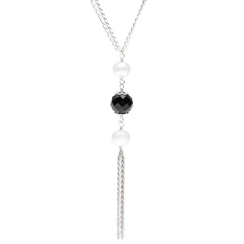 Kabella Freshwater Pearl and Faceted Agate Tassel Necklace (8-9 mm)