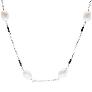 Kabella Freshwater Cultured Rice Pearl and Faceted Onyx Necklace (8-9mm)