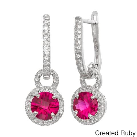 Gioelli Sterling Silver Multi-gemstone Leverback Dangle Earrings