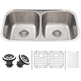 VIGO VIGO 32-inch Undermount Stainless Steel 18 Gauge Double Bowl Kitchen Sink