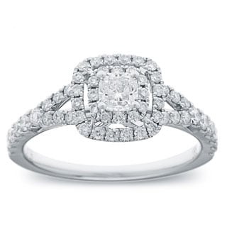 Azaro 14k White Gold 1ct TDW Cushion Diamond Double Halo Engagement Ring (G-H, SI2-I1)