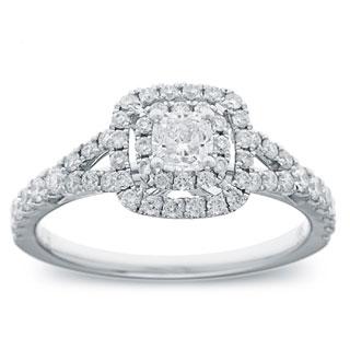 Azaro 14k White Gold 1ct TDW Cushion Diamond Double Halo Engagement Ring