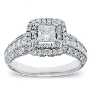 Azaro 14k White Gold 1 1/2ct TDW Princess-cut Diamond Double Halo Engagement Ring (G-H, SI2-I1)