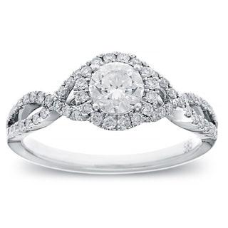 Azaro 14k White Gold 4/5ct TDW Round-cut Diamond Halo Engagement Ring (G-H, SI2-I1)