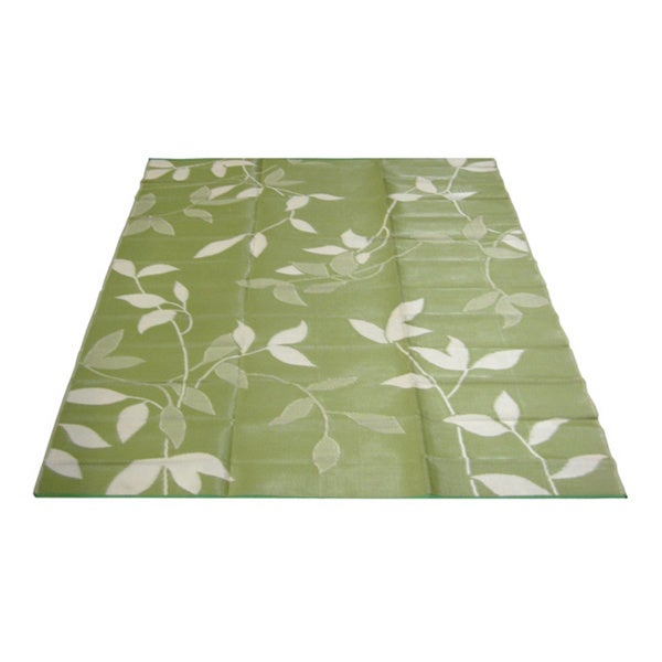 Royal Sun Sage White Leaf Reversibel Patio Mat 9 x 12