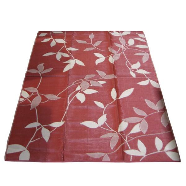 Royal Sun Terracotta/ Cream Leaf Reversible Patio Mat (9' x 12')
