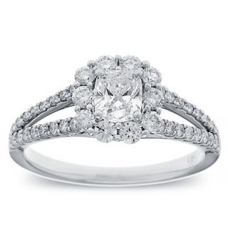 Azaro 14K White Gold 1 1/10 TDW Cushion Diamond Halo Engagement Ring