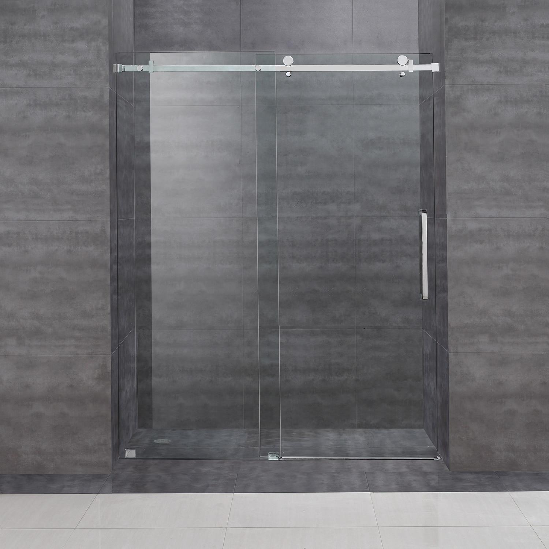 Aston Moselle 60 In X 75 In Completely Frameless Sliding Alcove Shower Door In Chrome Overstock 8886524