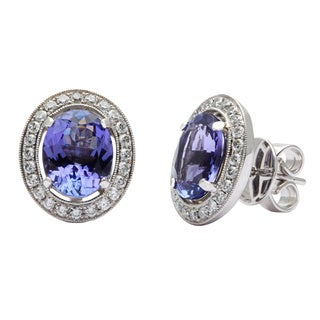 Kabella 18k White Gold Oval Tanzanite 5/8ct TDW Diamond Vintage-style Stud Earrings (G-H, SI1-SI2)