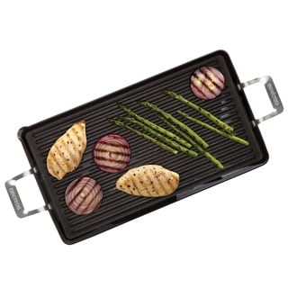 Circulon Hard-anodized Nonstick 18 x 10-inch Double Burner Grill with Pour Spout