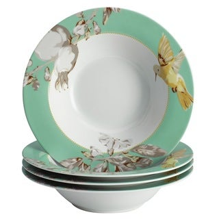 BonJour Dinnerware Fruitful Nectar Porcelain 4-piece Print Soup/ Pasta Bowl Set