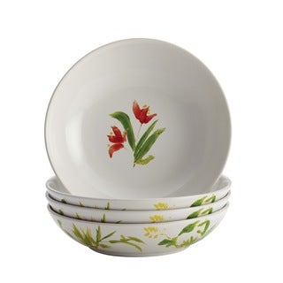BonJour Dinnerware Meadow Rooster Stoneware 4-piece Print Fruit Bowl Set