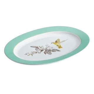 BonJour Dinnerware Fruitful Nectar Porcelain 10 x 14-inch Print Oval Platter