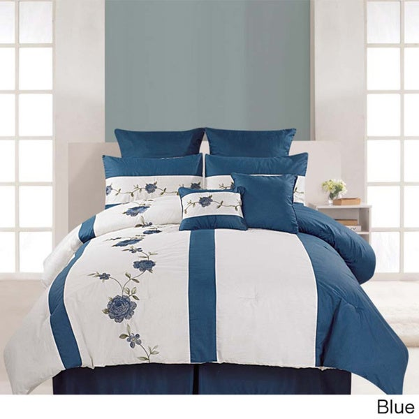Embroidered Saratoga 8-piece Cotton Comforter Set