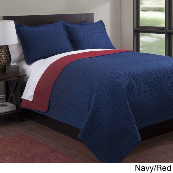 Baltic Solid Reversible 3-piece Quilt Set - On Sale - Free ... : solid navy quilt - Adamdwight.com